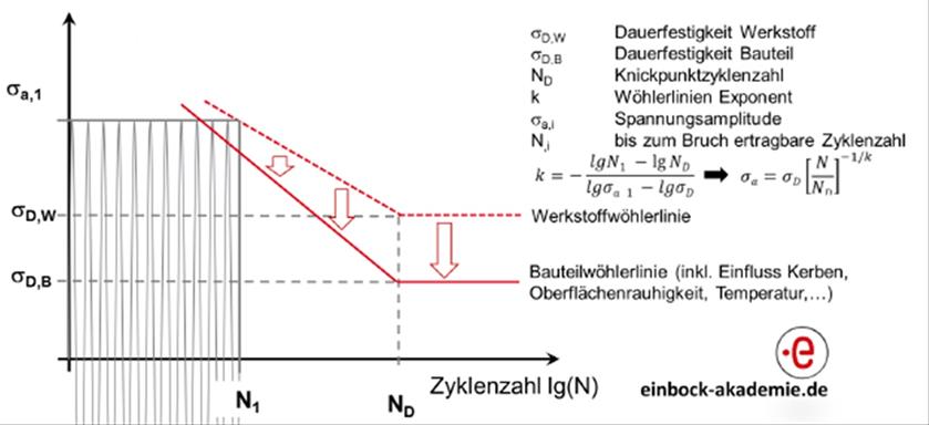 Berechnung der Bauteilwöhlerlinie nach der FKM-Richtlinie