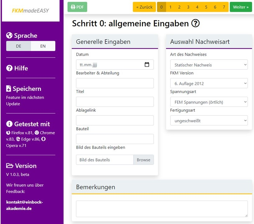 Überblick über FKMmadeEASY die online Software zur FKM Richtlinie
