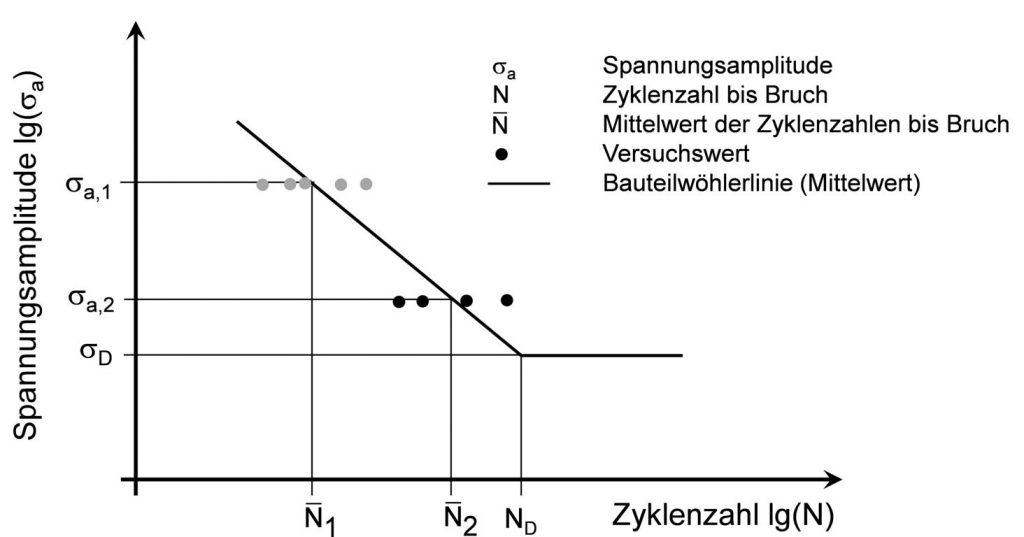 Das Horizontenverfahren zur Ermittlung der Zeitfestigkeit im Wöhlerversuch (schematisch)