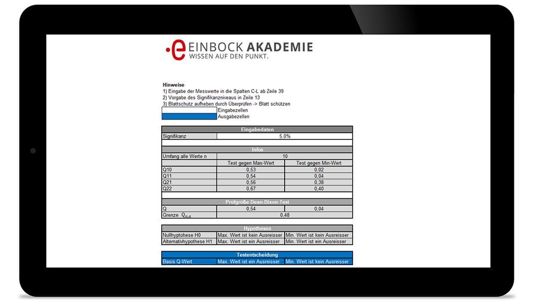 Statistischer Test auf Ausresser mit Excel (Dean Dixon)