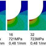 Netzstudie zur Ermittlung der richtigen Eelemntanzahl zur Berechnung des Spannungsgradienten aus FEM Ergebnissen