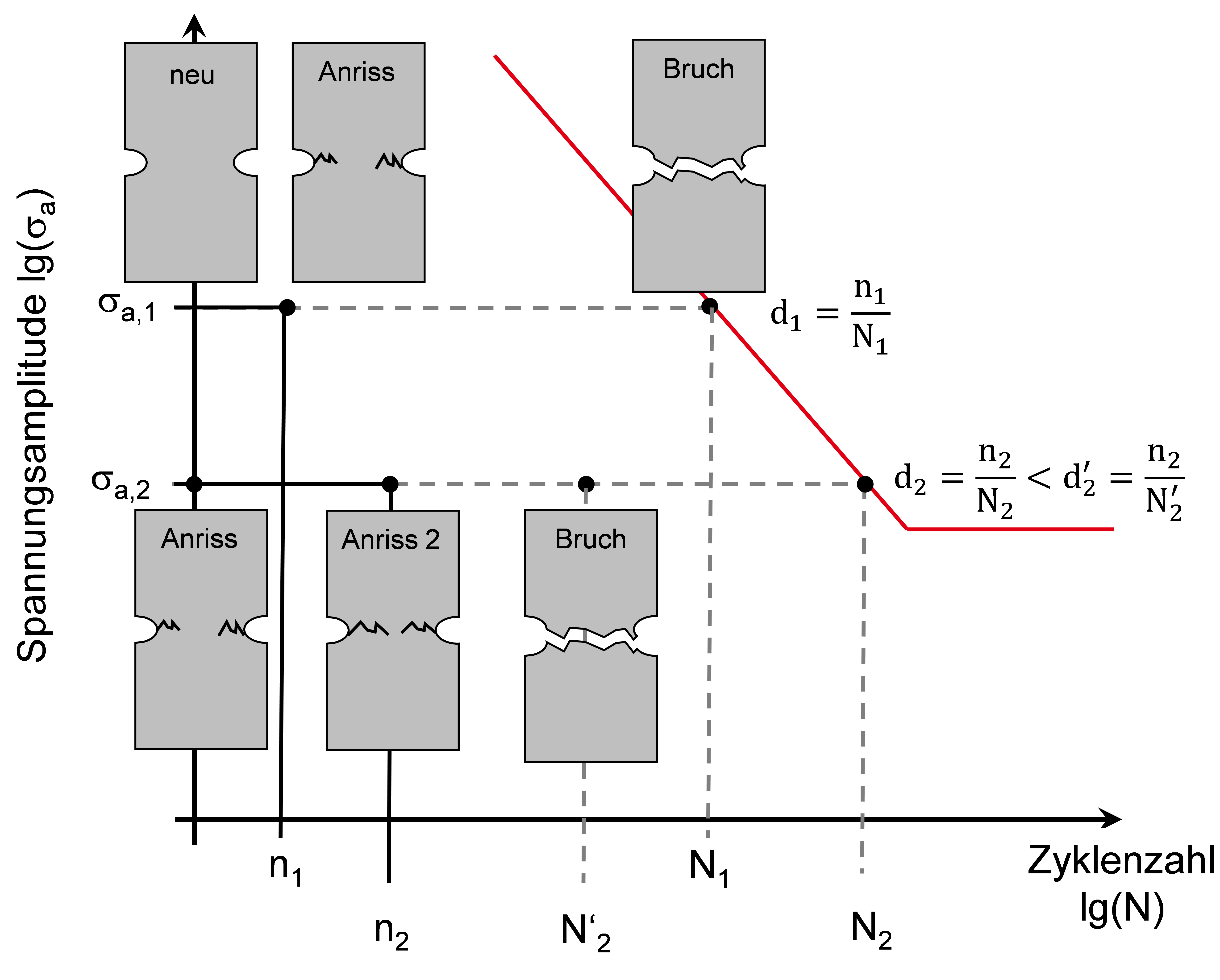 Erklärung der Miner-Regel und der modifikation der Schadensakkumualtionshypothese